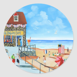 Fun at the seaside British seaside panting Classic Round Sticker