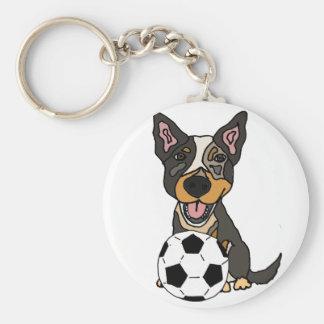 Fun Australian Cattle Dog Soccer Artwork Key Ring
