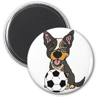 Fun Australian Cattle Dog Soccer Artwork Magnet
