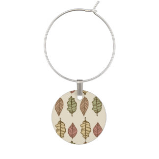Fun Autumn Leaves Pattern Wine Charms