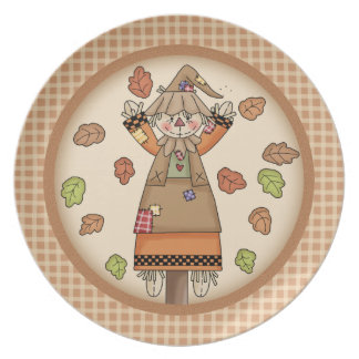 Fun Autumn or Fall Scarecrow on Plaid Pattern Plate