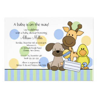 Fun Baby Animals Boy Baby Shower Invitation