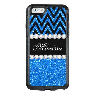 Fun Baby Blue Glitter Black Chevron Stripe Pattern OtterBox iPhone 6/6s Case