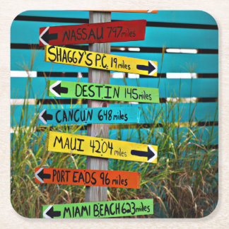 Fun Backyard Travel Signs Square Paper Coaster