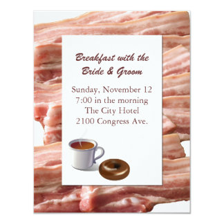 Fun Bacon Wedding Breakfast Invitation
