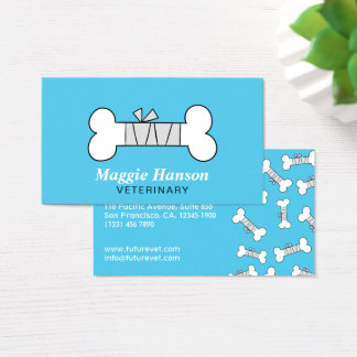 Fun bandaged bone blue Veterinary Clinic business Business Card