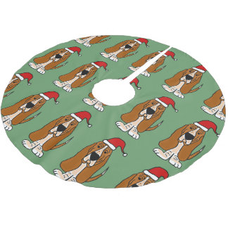 Fun Basset Hound in Santa Hat Christmas Tree Skirt