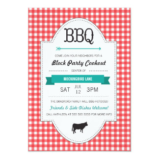 Fun BBQ Block Party Invite