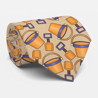 Fun beach bucket pattern tie