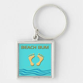 Fun Beach Bum with Feet in the Sand  Key Chain