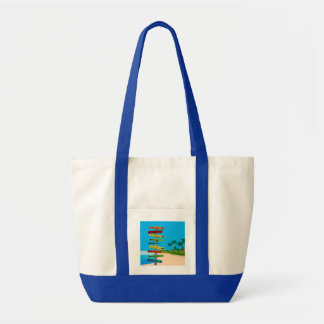 FUN BEACH SIGN POST AT THE BEACH TOTE BAG