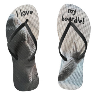 Fun Bearded Dragon Print Flip Flops