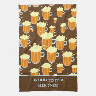 Fun Beer Snob Pattern on Brown and Blue Tea Towel