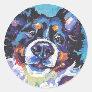 FUN Bernese Mountain Dog pop art painting Classic Round Sticker