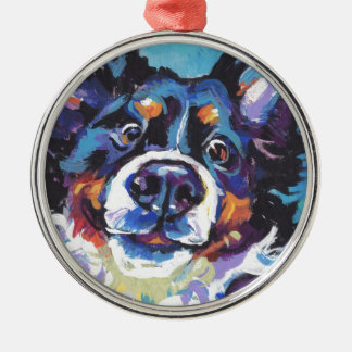 FUN Bernese Mountain Dog pop art painting Metal Ornament
