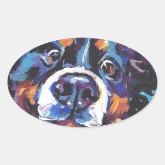 FUN Bernese Mountain Dog pop art painting Oval Sticker