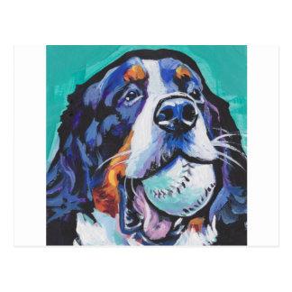 FUN Bernese Mountain Dog pop art painting Postcard