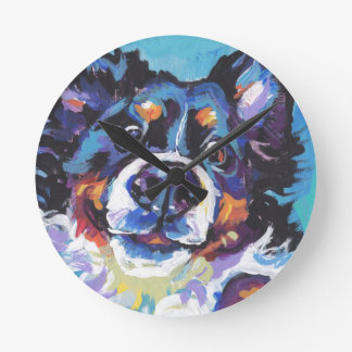 FUN Bernese Mountain Dog pop art painting Round Clock
