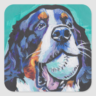 FUN Bernese Mountain Dog pop art painting Square Sticker