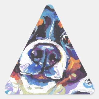 FUN Bernese Mountain Dog pop art painting Triangle Sticker