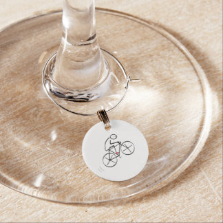 Fun Bicyclist Design Wine Glass Charm