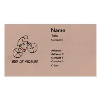 """Fun Bicyclist Design with """"Keep On Pedaling"""" text Pack Of Standard Business Cards"""