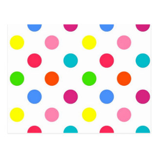 Fun big polka dots red yellow green pink orange postcard