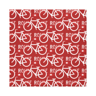 Fun Bike Route Fixie Bicycle Cyclist Pattern Red Stretched Canvas Print