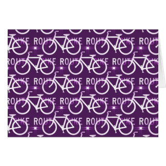Fun Bike Route Fixie Bike Cyclist Pattern Purple Card