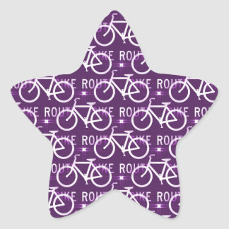 Fun Bike Route Fixie Bike Cyclist Pattern Purple Star Sticker