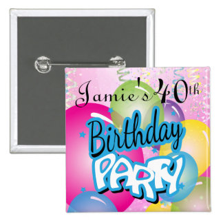 Fun Birthday Party | DIY Name & Age 15 Cm Square Badge