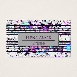 Fun Black and White Confetti Striped Business Card