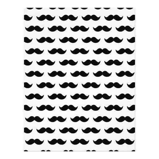 Fun Black and White Mustache Pattern 1 Personalized Flyer