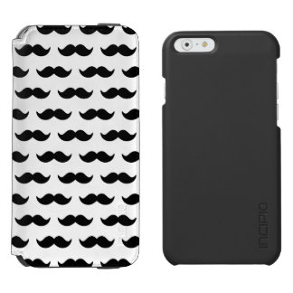 Fun Black and White Mustache Pattern 1 Incipio Watson™ iPhone 6 Wallet Case