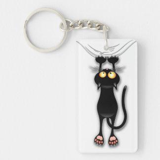 Fun Black Cat Falling Down Keychain