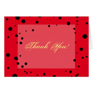 Fun Black Dots On Red Ladybug Colors Thank You Greeting Card