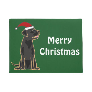 Fun Black Labrador Dog Christmas Doormat