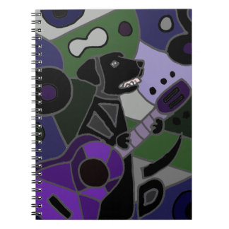 Fun Black Labrador Retriever with Guitar Art Note Books