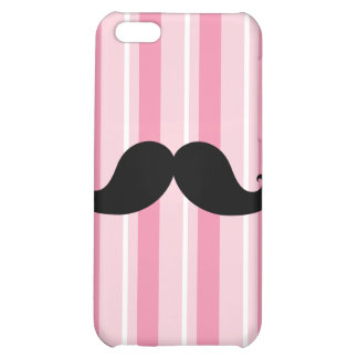 Fun Black Moustache Pink Stripes iPhone 5C Cases