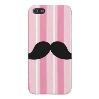 Fun Black Moustache Pink Stripes Covers For iPhone 5
