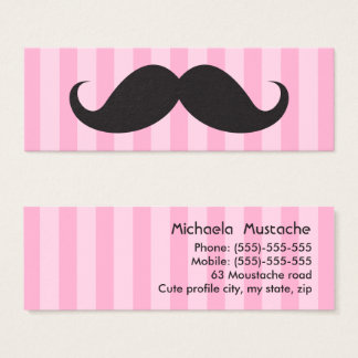 Fun black mustache on pink stripes business card