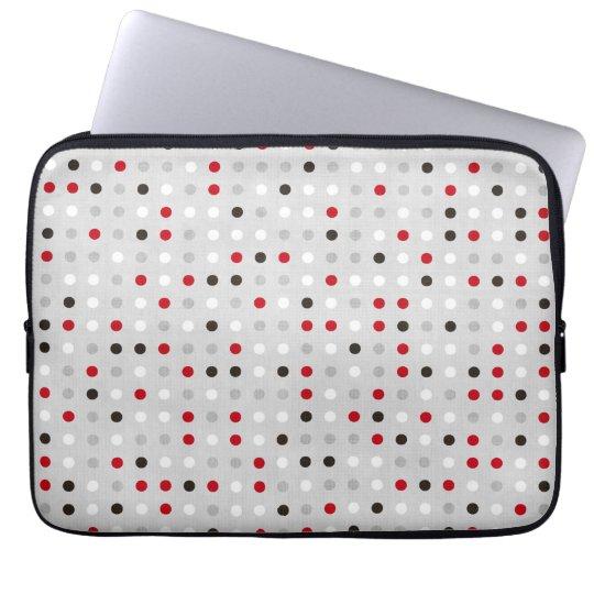 Fun Black Red Grey Polka Dot Pattern Laptop Sleeve