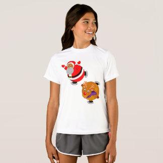 Fun Black Santa Claus & Rudolph ice skating, T-Shirt