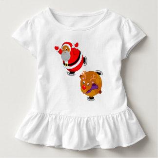 Fun Black Santa Claus & Rudolph ice skating, Toddler T-Shirt