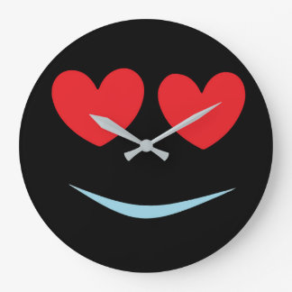 Fun Black Smiley Face with Red Heart Shaped Eyes Large Clock