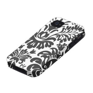 Fun Black White Floral Damask iPhone 4 Case-Mate Vibe iPhone 4 Case