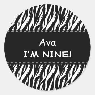Fun Black White Zebra Custom 9th Birthday Round Sticker