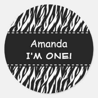 Fun Black White Zebra Custom First Birthday V04 Round Sticker
