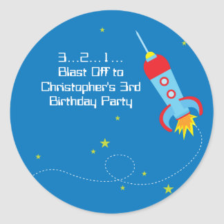 Fun blast off spaceship boy birthday party sticker