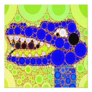 Fun Blue Alligator Crocodile Retro Circles Mosaic Custom Invitations